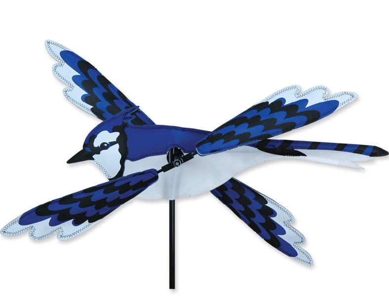 Blue jay bird whirligig wind spinner premier diameter 20 for Wind garden by premier designs