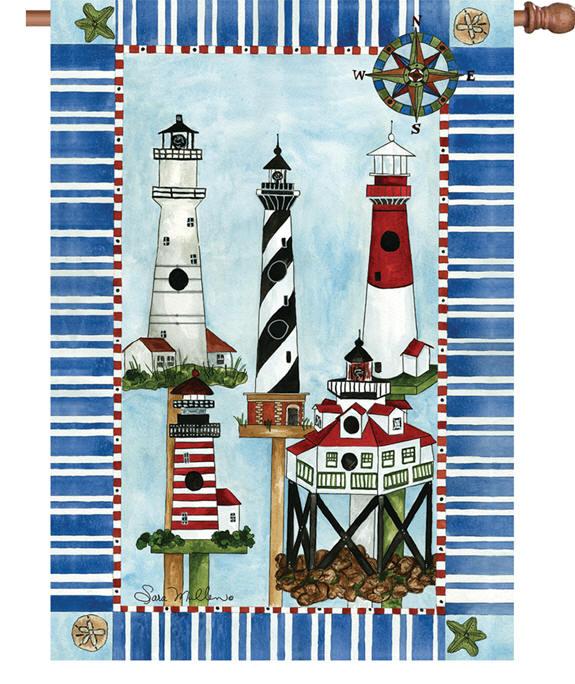 Eastern Lights Lighthouses House Flag 28x40 Lighthouse