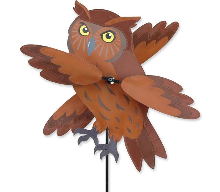 Brown owl whirligig bird wind spinner premier lawn yard for Wind garden by premier designs